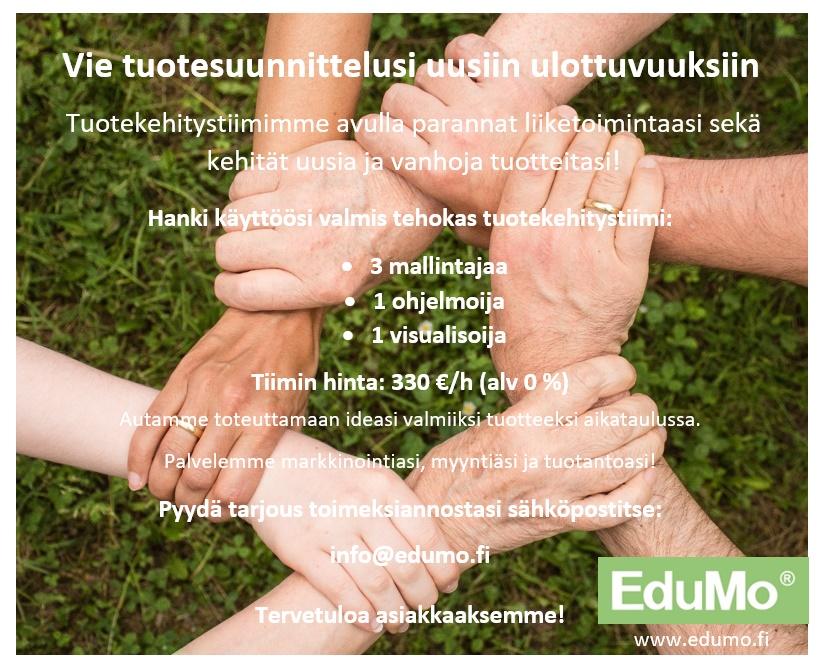 Boostaa liiketoimintaasi uudella EduMo®.Tuotekehitystiimi-palvelullamme